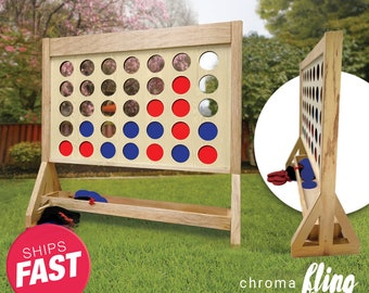 Plain Giant Fast Four Game with Travel Bag - Giant Connect 4 - Outdoor Lawn Game - Jumbo Connect Four - Big Connect 4