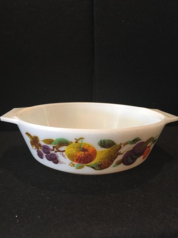 Vintage JAJ Pyrex dish Kent Orchard print Casserole dish  Oven to table dish  Vintage Pyrex  1970  Cookware  Ovenware