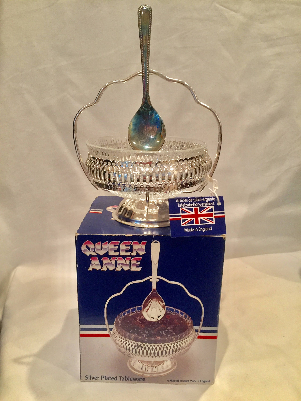 Queen Anne Plata Plateado Jam//mermelada plato con cuchara NUEVO y en caja