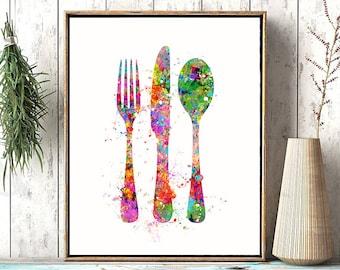 Cutlery Fork Knife Spoon Watercolor Art Print Painting