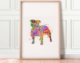 Staffordshire Bull Terrier Watercolor Print - Staffordshire Bull Terrier Watercolor Art - Bull Terrier Portrait - Gift for Her