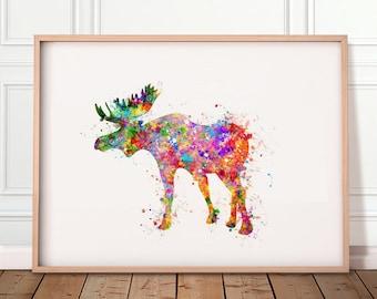 Moose Watercolour Print - Moose Print - Moose Poster - Moose Portrait - Moose Artwork - Moose Watercolour Art