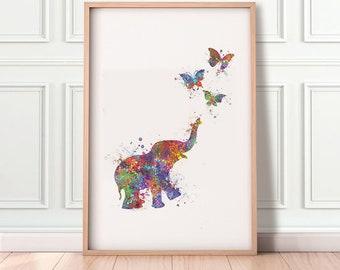Baby Elephant and Butterflies Watercolour Art Print - Baby Elephant Watercolour Print  - Nursery Decor - Nursery Wall Art
