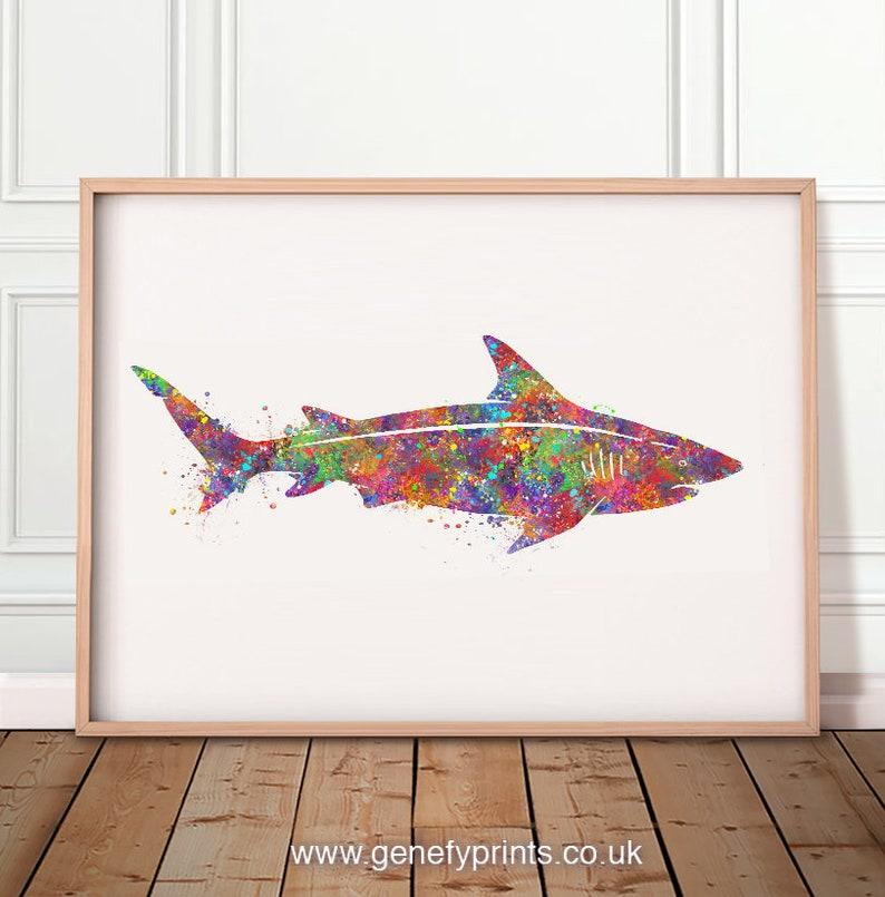 Shark Watercolor Art Print  Shark Watercolor Print  Shark image 0