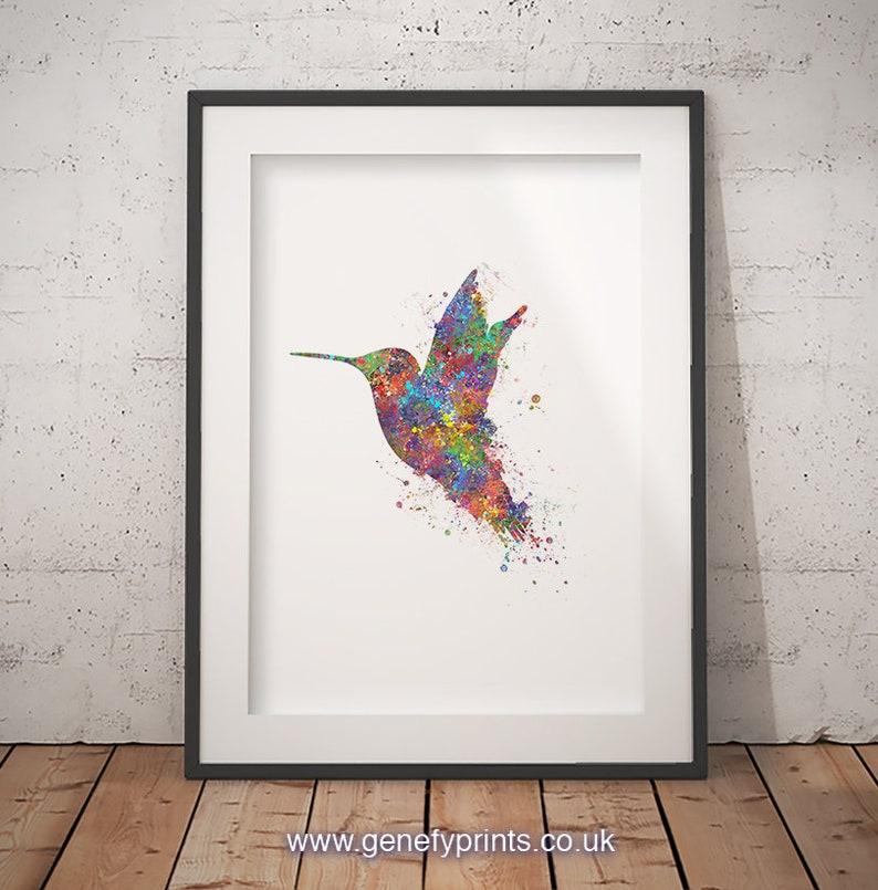 Hummingbird Watercolor Art Print   Hummingbird Prints  image 0