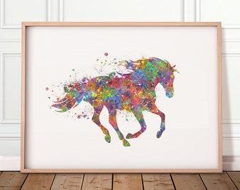 Horse Watercolor Art Print - Horse Watercolour Print - Gift for Equestrian - Housewarming Gift - Horse Prints - Horse Poster