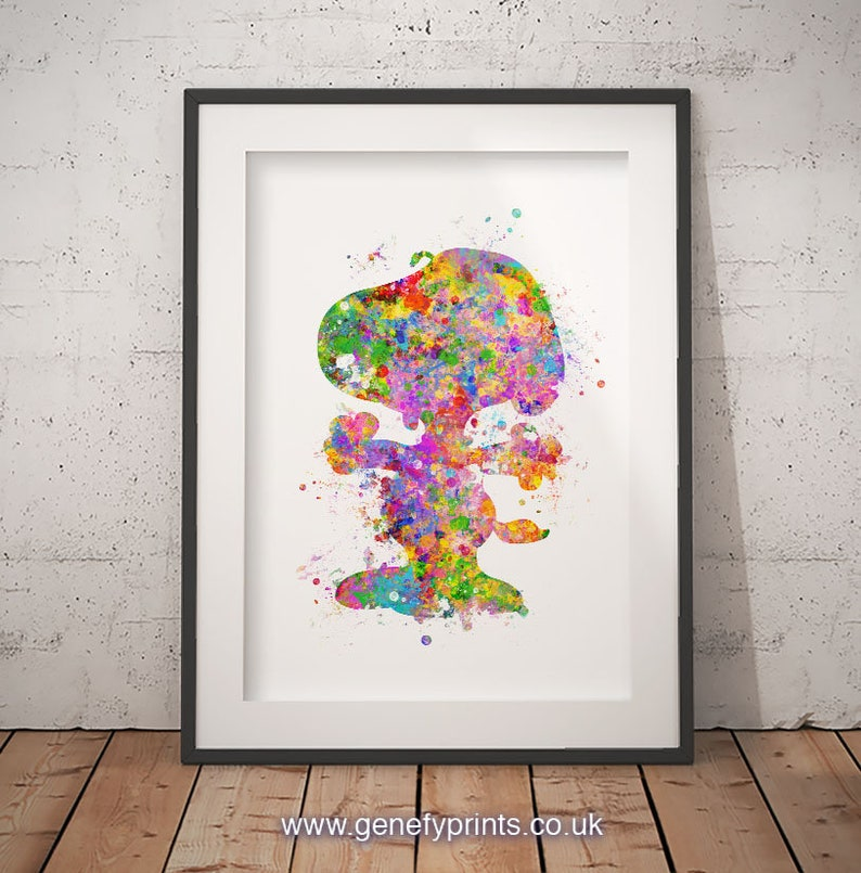 3db01a21c1443b Snoopy Peanuts Watercolor Art Print Snoopy Wall Decor