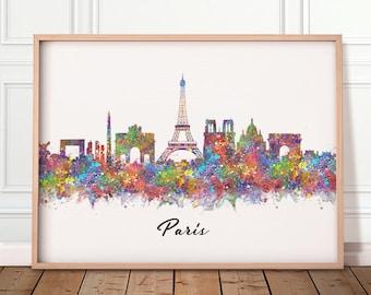Paris Skyline Print - Paris Skyline Poster - Paris Skyline Wall Art - Paris Skyline Wall Decor - Paris Cityscape Wall Art