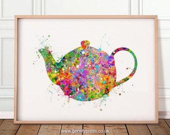Kitchen Teapot Watercolor Art Print  - Teapot Watercolor Art Painting - Kitchen Prints - Kitchen Decor - House Warming Gift [4]