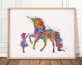 Little Girl and Unicorn Watercolour Print - Girl and Unicorn Prints - Nursery Wall Art - Unicorn Poster - Nursery Wall Decor