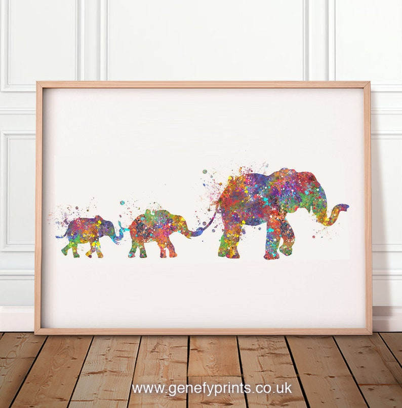 Elephant Family of 3 Watercolor Art Print  Elephant Family image 0