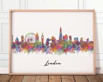 London Skyline Watercolour Print - London Cityscape Print - London Skyline Poster - London Skyline Wall Decor - Housewarming Gift