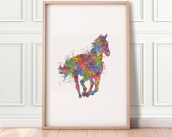 Horse Running Watercolor Print - Horse Poster - Horse Lover Gift Ideas - Horse Riding Gift - House Warming Gift - Horse Gift Ideas