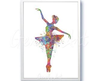 Ballerina Watercolor Art Print  - Ballerina Watercolor Poster - Kids Decor - Nursery - Dance- Wall Decor - Home Decor [1]
