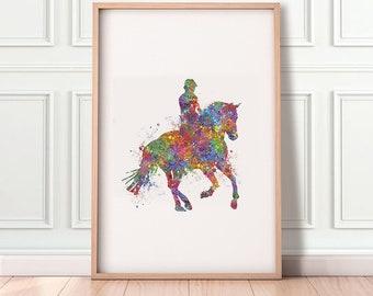 Horse Riding Watercolor Art Print  - Horse Portrait - Equestrian Portrait - Horseback Riding Portrait - Equestrian Print - Equestrian Poster