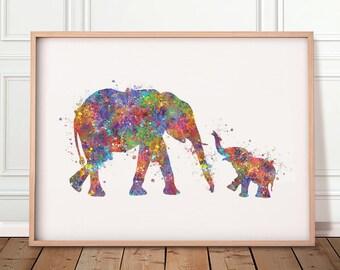 Baby Elephant and Mother Elephant Watercolor Art Print - Mother and Baby Portrait - Motherhood Prints - Nursery Wall Art - Nursery Decor
