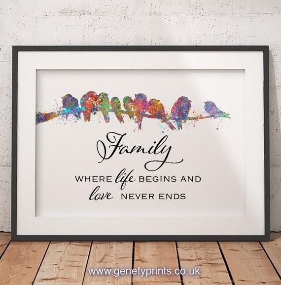 Uccello Della Famiglia Stampa Artistica Famiglia Citazioni Stampa Famiglia Dell Acquerello Pittura Stampe Famiglia Ritratto Di Famiglia