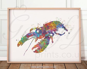 Lobster Watercolour Art Print - Lobster Watercolour Print - Lobster Poster - Kitchen Prints - Kitchen Wall Art - Kitchen Decor