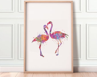 Flamingo Watercolor Print - Flamingo Couple Watercolour Art Print - Flamingo Love Birds Poster - Wedding Gift Ideas - House Warming Gift