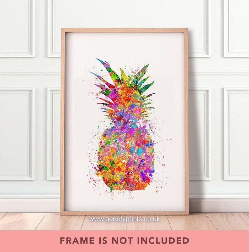 Pineapple Watercolor Print  Kitchen Prints  Pineapple Prints image 0