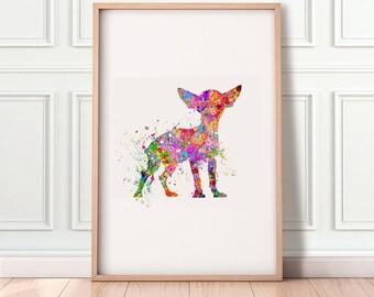Chihuahua Watercolor Art Print - Chihuahua Portrait - Chihuahua Wall Art - Chihuahua Poster - Chihuahua Print - Housewarming Gift