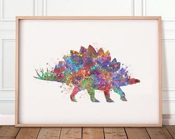Dinosaur Stegosaurus Watercolour Art Print - Dinosaur Poster - Dinosaur Theme Room Wall Decor - Boys Room Decor