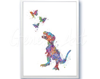 Dinosaur Baby Tyrannosaurus T-Rex Watercolor Art Print - Dinosaur Watercolor Art Painting - House Warming Gift