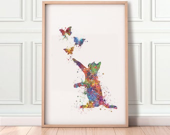 Cat and Butterflies Watercolor Art Print  - Cat Portrait - Cat Prints - Cat Poster - House Warming Gift - Gift for Her