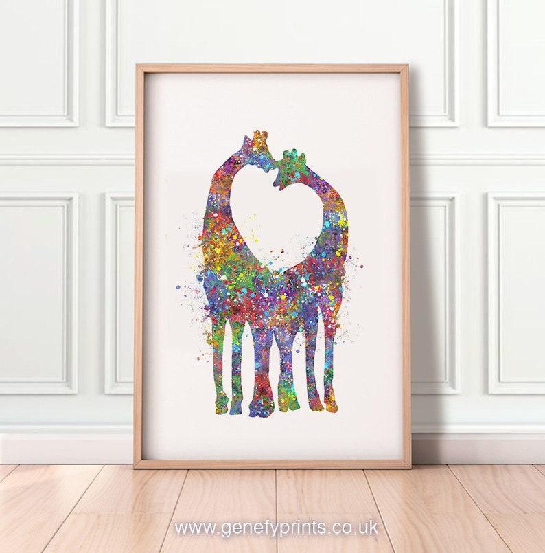 Giraffe Watercolor Print  Giraffe Couple Prints  image 1