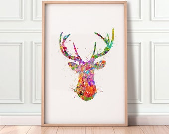 Deer Antler Watercolor Print - Stag Antler Watercolor Painting - Deer Antler Poster - Deer Antler Wall Decor