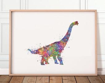 Dinosaur Brachiosaurus Watercolor Art Print - Dinosaur Watercolor Print - Dinosaur Prints - Dinosaur Poster - Dinosaur Abstract Art