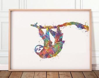 Sloth Watercolour Print - Sloth Prints - Sloth Poster - Sloth Portrait - Sloth Artwork - Housewarming Gift - Birthday Gift Ideas
