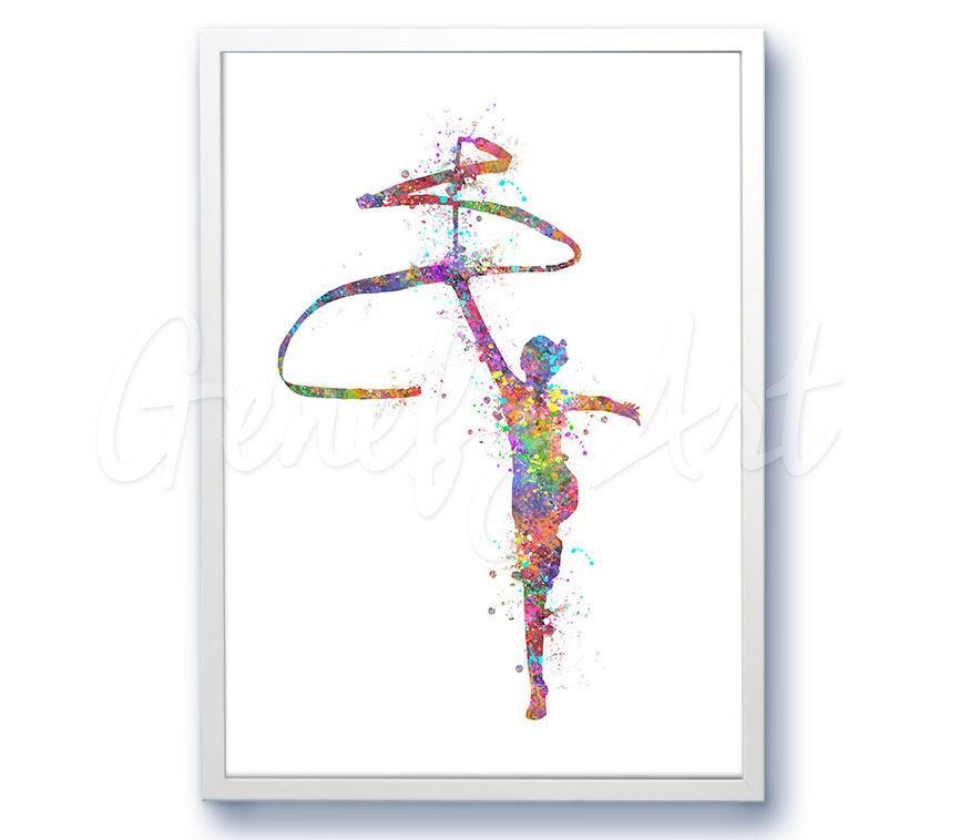 Rhythmic Gymnastics Watercolor Art Print Rhythmic Etsy