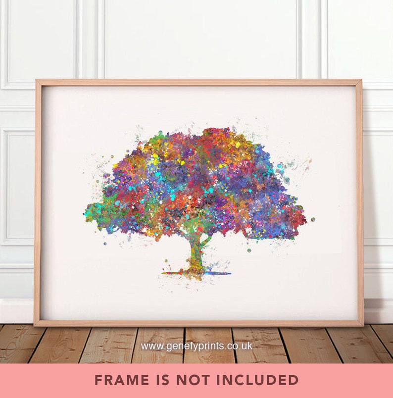 Tree Watercolor Print  Nature Poster  Tree Poster  Tree image 0