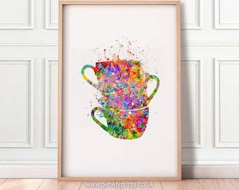 Coffee Cups Watercolor Art Print - Kitchen Wall Art - Kitchen Wall Decor - Dining Room Decor - Kitchen Prints - Cups Poster