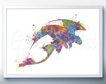 Toothless How To Train Your Dragon Watercolor Art Poster Print - Wall Decor - Watercolor Art - Kids Decor - Nursery Decor
