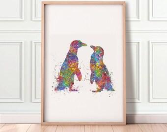 Penguin Kissing Watercolor Print - Penguin Prints - Gift for Couple - Wedding Gift Ideas - Loving Couple Prints - Anniversary Gift Ideas