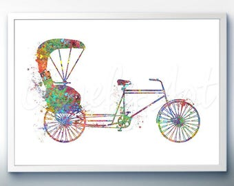 Trishaw Bicycle Watercolor Print - Home Living - Bicycle Painting - Bicycle Wall Art - Wall Decor - Home Decor, House Warming Gifts