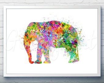 Elephant Watercolor Art Print - Elephant Watercolor Art Painting - Animal Poster - Home Decor - House Warming Gift [1]