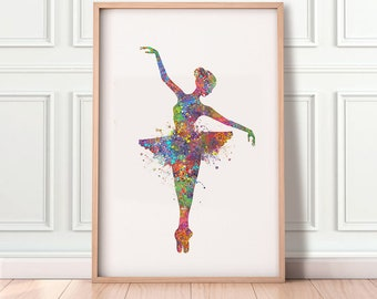 Ballerina Watercolor Art Print  - Ballerina Dancer Print - Ballet Dancing Print - Gift for Her - Nursery Wall Decor