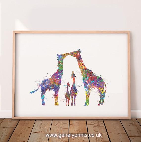Personalised Family Print family animal watercolor giraffe print family gift