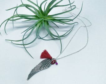 Wing pendant necklace. Angel. Pendant. Necklace. Wing. Handmade. Gift.