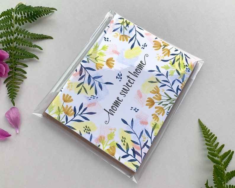 Set of 4 4.25 x 5.5 Single Card or Set of 10 Blank Illustrated Notecard Home Sweet Home Floral
