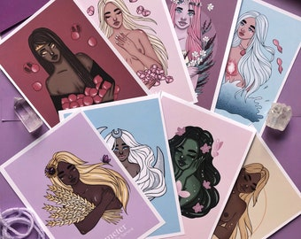 greek goddess / print - goddess art - goddess energy - goddess merch - goddess gifts - greek mythology - soft art - mature