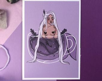 tea mermaid/ print - mermaid art - mermaid gift - water witch - kawaii - mermaids - illustration - cute art - home decor art - art decor