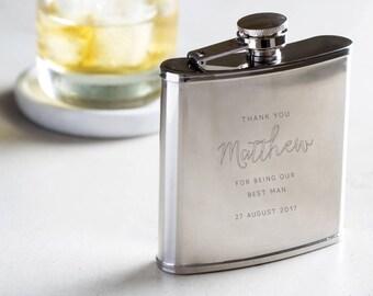 Personalised Engraved Best Man Hip Flask