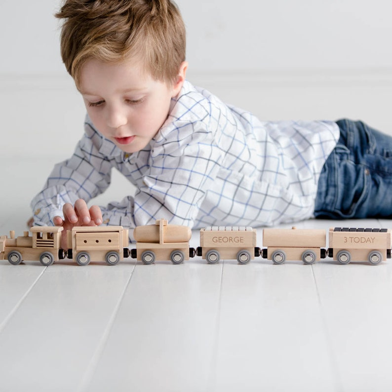 Personalised Wooden Birthday Train Set Traditional Wooden image 1