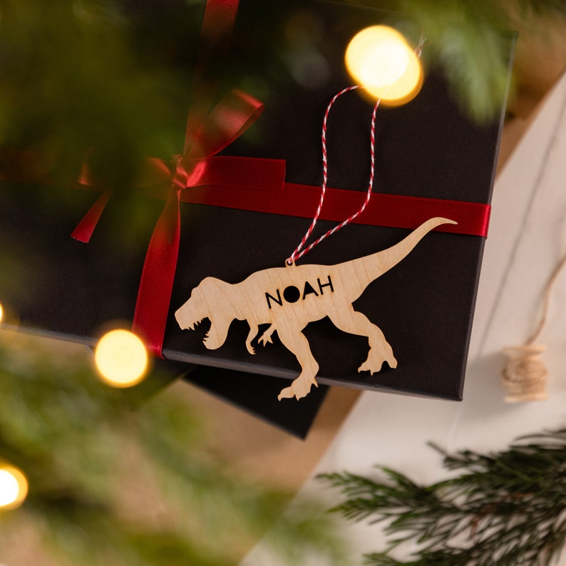 Personalised Wooden Dinosaur Gift Tag