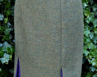 Wool Tweed Skirt, 1940's Vintage Style with contrast colour kick splits.