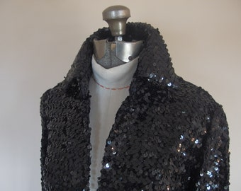1970s Women's Black Sequin Evening Jacket